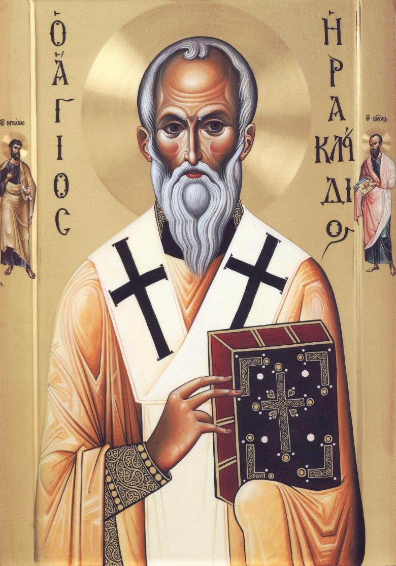 Η νέα εφέστιος εικόνα του Αγίου Ηρακλειδίου της ομωνύμου του Ιεράς Μονής. Η εικόνα αγιογραφήθηκε από το αγιογραφείο της Ιεράς Μεγίστης Μονής Βατοπαιδίου και είναι δέηση των Δημητρίου και Άννας Γρηγορίου από την Λευκωσία της Κύπρου.
