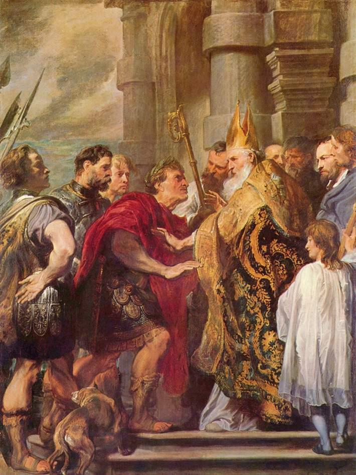 Saint Ambrose and Emperor Theodosius, Anthony van Dyck.(1599-1641)