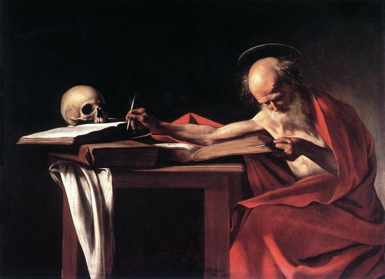 San Jeronimo. Painting of Michelangelo Merisi da Caravaggio 1571–1610