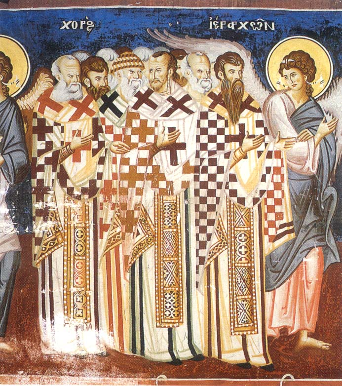 Fathers of the Orthodox Church. Fresco from the Holy Monastery of Vatopedi in Mount Athos (Holy Mountain)