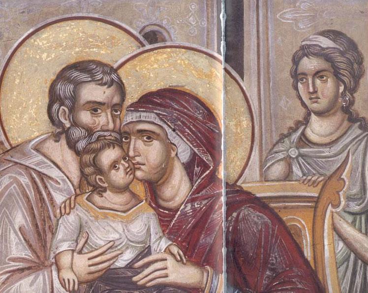 Οι άγιοι Ιωακείμ και Άννα με την Παναγία. Από τοιχογραφία του καθολικού της Ιεράς Μεγίστης Μονής Βατοπαιδίου.