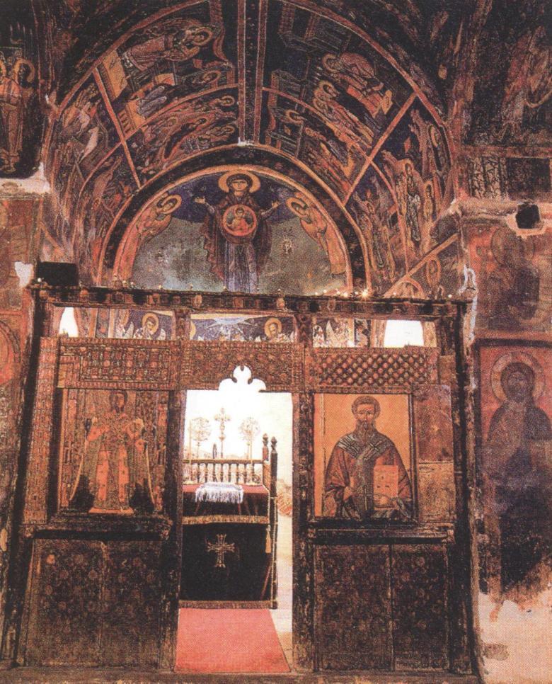 Εσωτερική άποψη του Καθολικού της Ιεράς Μονής Αγίου Ιωάννη του Λαμπαδιστή το οποίο είναι αφιερωμένο στον Άγιο Ηρακλείδιο Επίσκοπο Ταμασού.