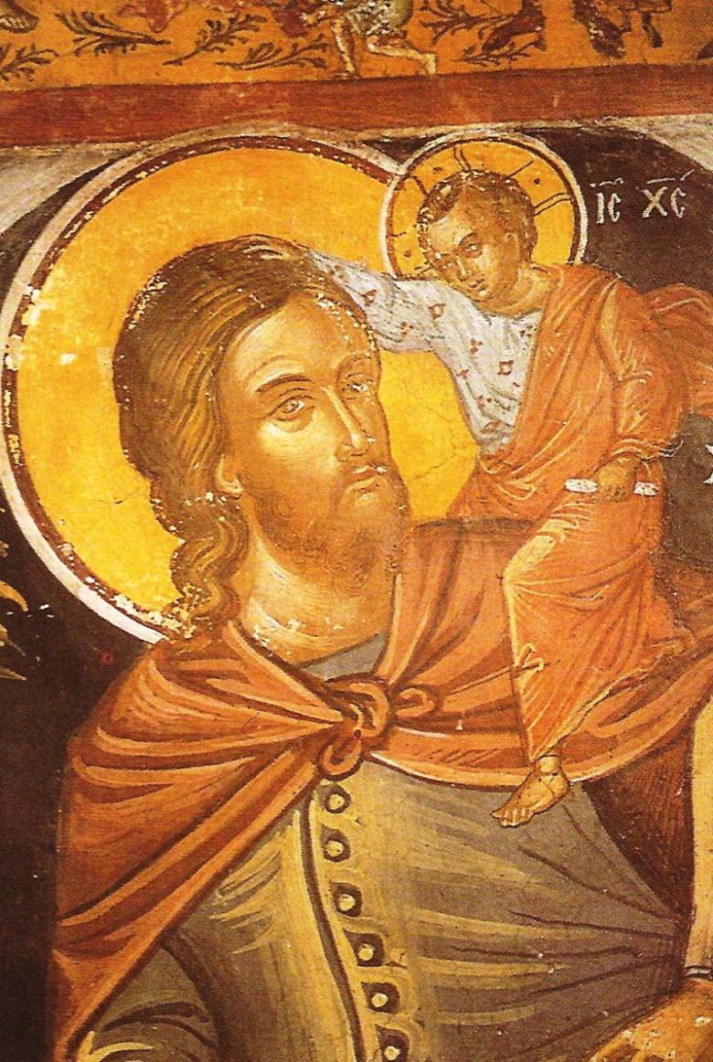 Ο άγιος Χριστοφόρος. Τοιχογραφία του καθολικού