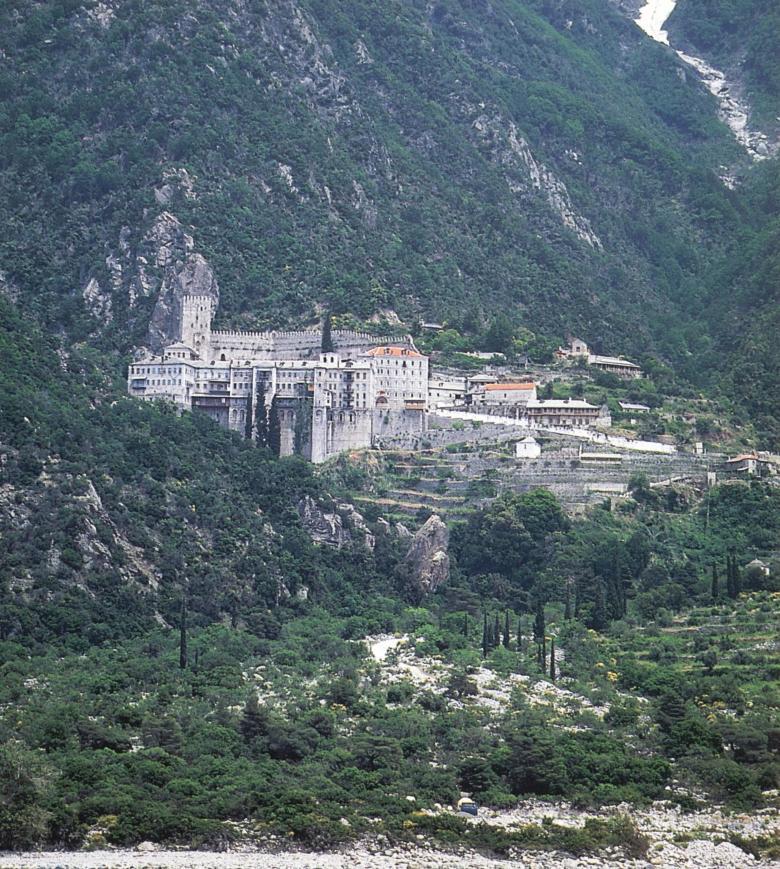 Ιερα Μονή Αγίου Παύλου. Εξωτερική άποψη. Holy Monastery of Agiou Pavlou (St Paul). External view.