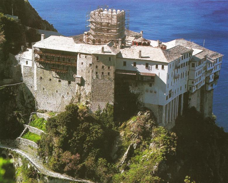 Η Ιερά Μονή Αγίου Διονυσίου. Εξωτερική άποψη. The Holy Monastery of Dionysiou. External view.