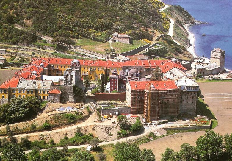 Η Ιερά Μονή Ιβήρων. Εξωτερική άποψη. The Holy Monastery of Iviron. External view.