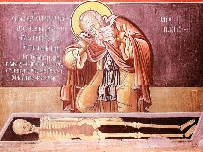 Ο άγιος Σισώης μπροστά στο σκελετό του Μεγάλου Αλεξάνδρου. Τοιχογραφία στο νάρθηκα του καθολικού.