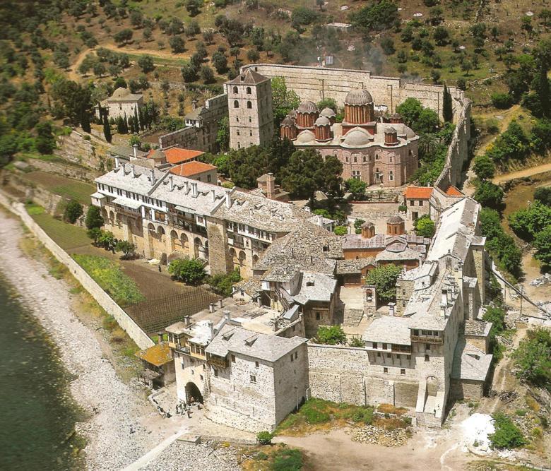 Ιερά Μονή Ξενοφώντος. Πανοραμική άποψη. Holy Monastery of Xenophontos. A panorama view.