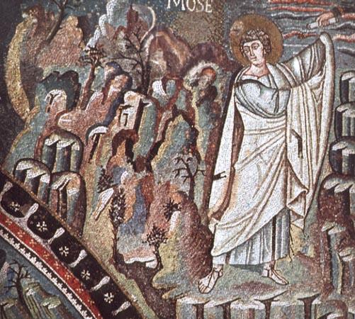Ο Προφήτης Μωυσής παραλαμβάνει τις Πλάκες με τις Δέκα Εντολές από τον Θεό. Ψηφιδωτό της βασιλικής του Αγίου Βιταλίου στην Ραβέννα (6ος αιώνας).