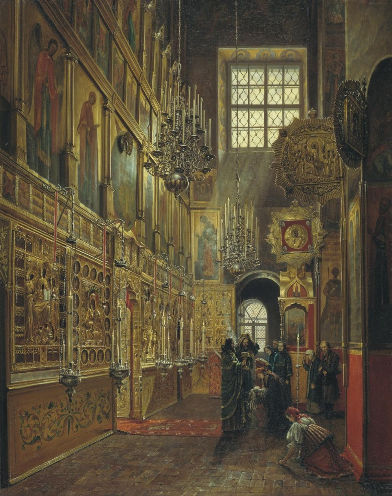 In the Church of St. Alexei, in the Chudov Monastery. Painting by Stepan Shukhvostov 1866.