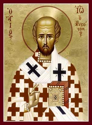 Ο άγιος Ιωάννης ο Χρυσόστομος. Φορητή εικόνα της Ιεράς Μονής Μεταμορφώσεως στην Βοστώνη. Βλ. http://www.thehtm.org/catalog/index.php?cPath=27_50_86&osCsid=0171011d452e0e9908a829501aa5a60c