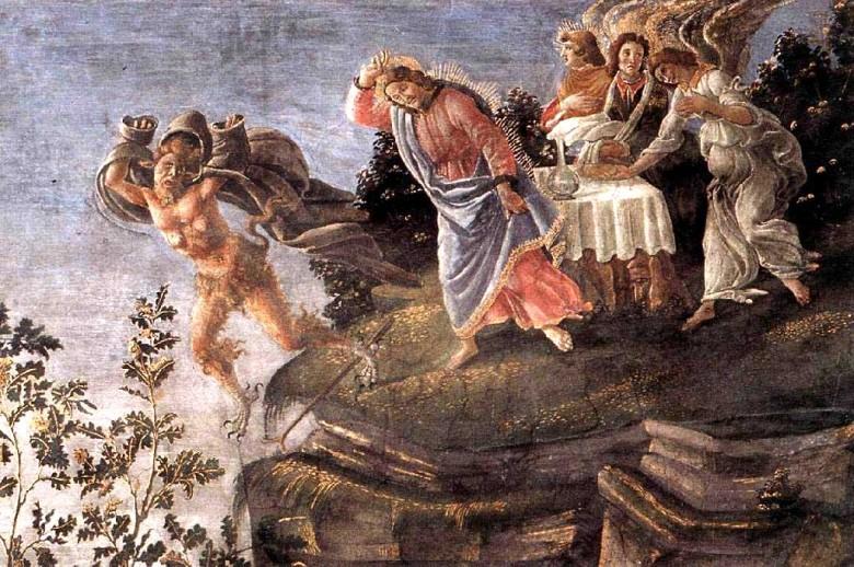 The Temptation of Christ. Fresco  of Boticelli in Capella Sistina, Vatican 1481-5