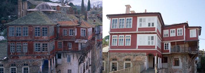 Το βόρειο τμήμα της ανατολικής πτέρυγας (Πύργος Αγίου Χρυσοστόμου) πριν και μετά την ανακαίνιση