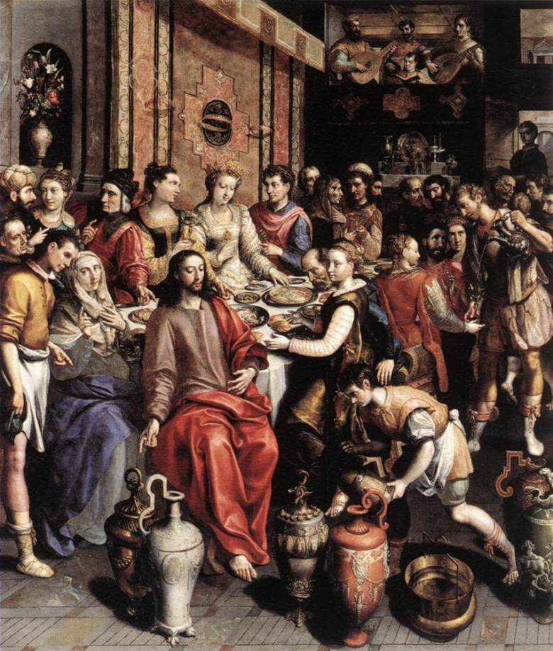 The Wedding at Cana. Painting of Marten de VOS; 1596-97