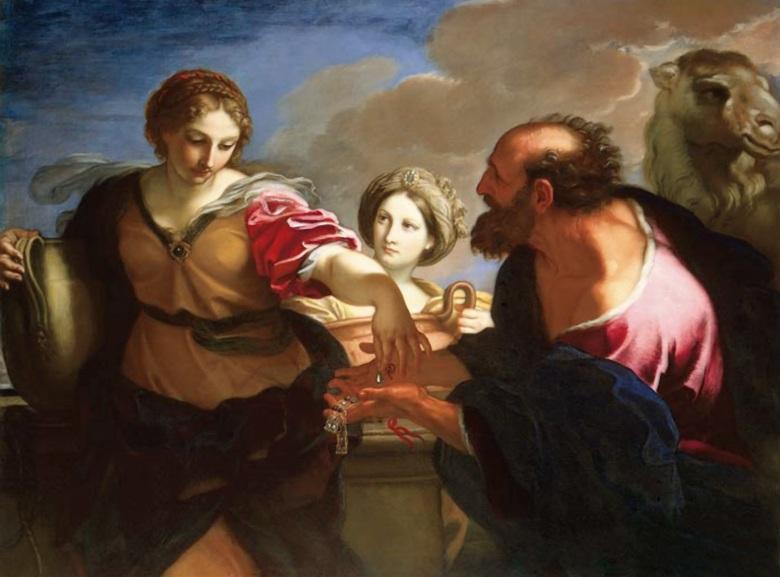Η Ρεβέκκα και ο Ελιέζερ στο πηγάδι. Πίνακας του ιταλού ζωγράφου Carlo Maratta (1625-1713).