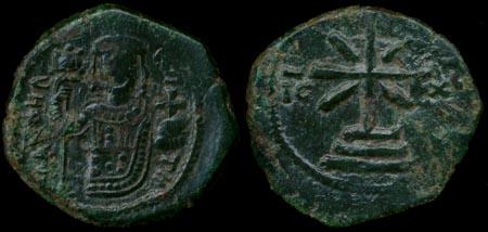Νόμισμα του Μανουήλ Κομνηνού με τη μορφή του στην μία όψη.