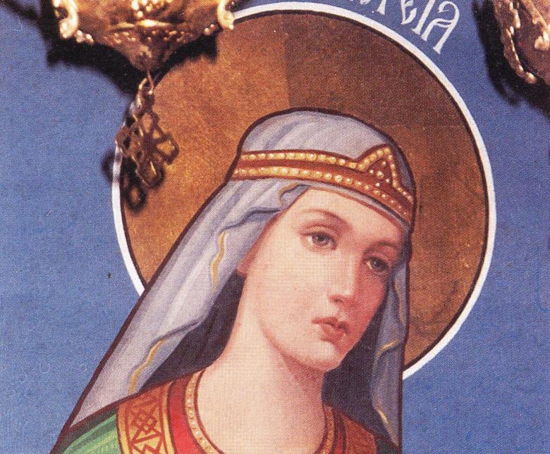 Η αγία Φιλοθέα του Άρτζες. Λεπτομέρεια εικόνας από την λειψανοθήκη της αγίας.