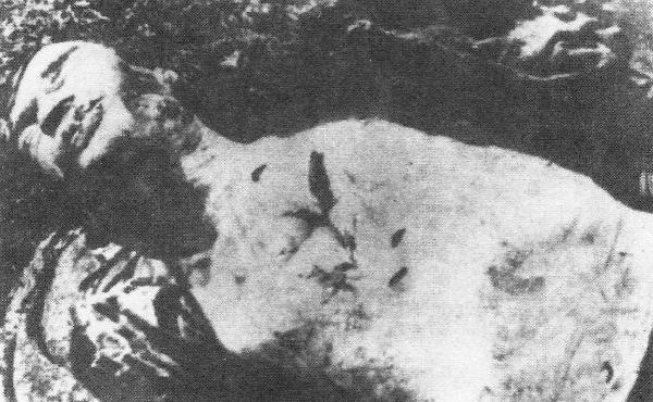 Το πτώμα του Βόσνιου Ορθόδοξου μητροπολίτου της Ντέμπαρ, Πέταρ Σίμωνοτις, δολοφονήθηκε από τους ούστασι μετά από φρικτά βασανιστήρια.