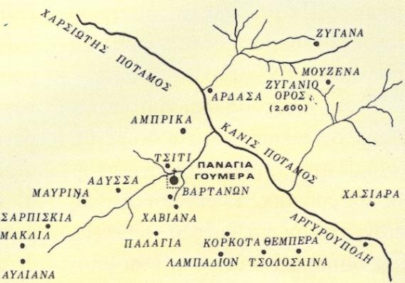 Xάρτης της περιοχής.