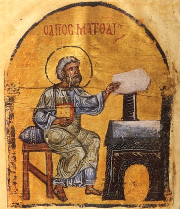 Ο απόστολος και ευαγγελιστής Ματθαίος. Μικρογραφία από βυζαντινό Ευαγγέλιο της Ιεράς Μεγίστης Μονής Βατοπαιδίου.