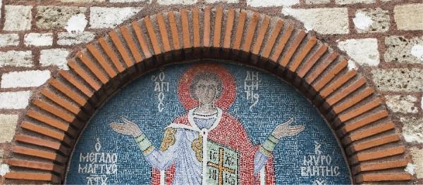 Ψηφιδωτό του Αγίου στην κεντρική είσοδο του Ναού