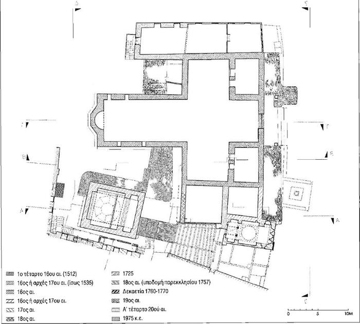 Εικ. 5. Μεγίστη Λαύρα. Οικοδομικό συγκρότημα τράπεζας. Κάτοψη Γ. Οικοδομικές φάσεις.