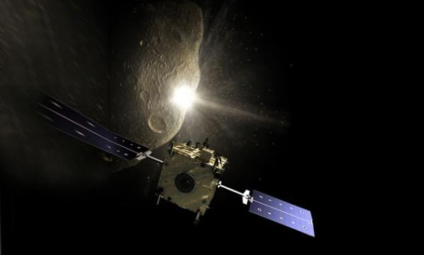 Καλλιτεχνική απεικόνιση της πρόσκρουσης της διαστημοσυσκευής Χιντάλγκο σε αστεροειδή, με στόχο την αλλαγή της πορείας του και την αποφυγή σύγκρουσης με τη Γη. Σε πρώτο πλάνο το διαστημόπλοιο Σάντσο, που παρατηρεί την επιχείριση. (πηγή: ESA)