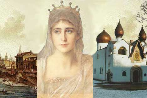 Ακόμα και στις μέρες μας η αγία αποτελεί σύμβολο, που συνδέει την παλαιά Μόσχα (αριστερά) και τη σημερινή (δεξιά η άποψη της Μονής Αγίας Μάρθας και Μαρίας).