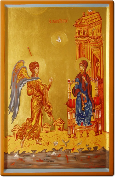 Ευαγγελισμός της Υπεραγίας Θεοτόκου - Πιστό αντίγραφο εικόνας που βρίσκεται στην Μονή Αγίας Αικατερίνης στο Σινά (12ος αιώνας μ.χ.) - Γεωργία Δαμικούκα© (http://www.tempera.gr)