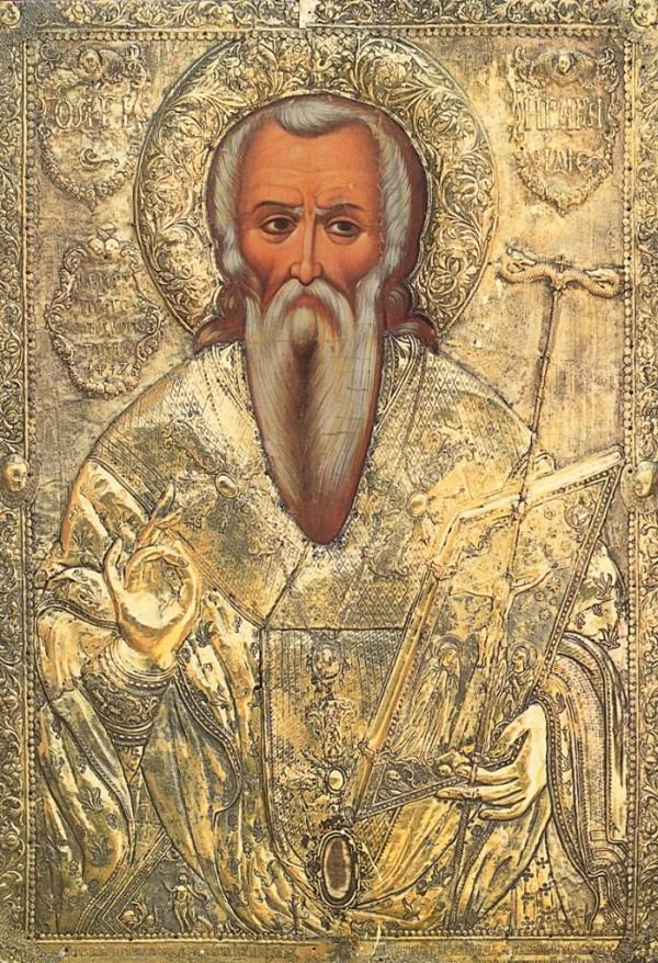 Φορητή εικόνα του Αγίου Ηρακλειδίου η οποία βρίσκεται στο εικονοστάσιον του Καθολικού της Ιεράς Μονής