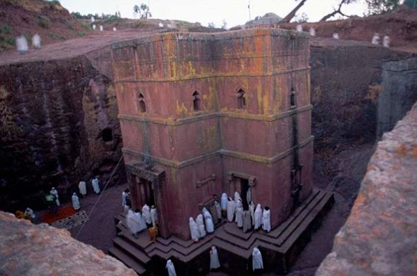 Worshipers at St. George's Church in Lalibela